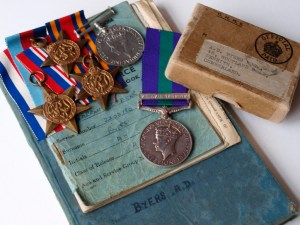 Byers Medals And Log Book With Box Of Issue