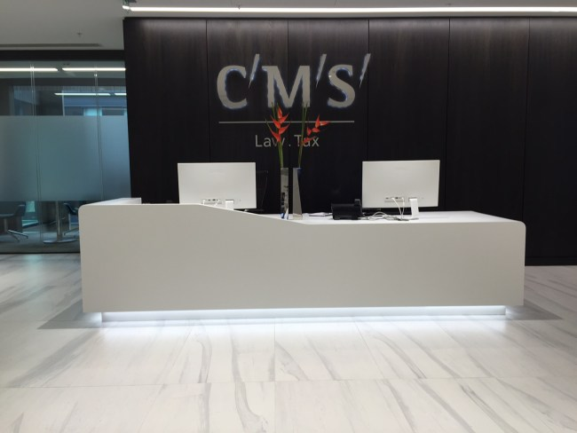 White Corian Reception Desk - CMS - Colinton Furniture