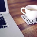 Mug with Coaster and Laptop