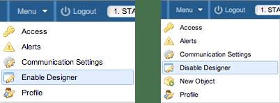 Screenshot: Enable/Disable Designer Mode