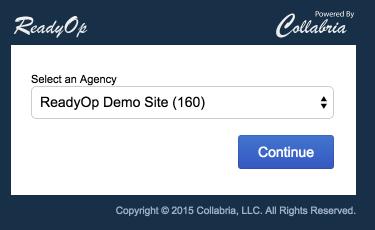 Screenshot: Agency Selection