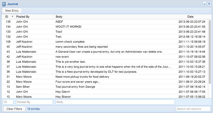 Screenshot: Journal Entries Dialog
