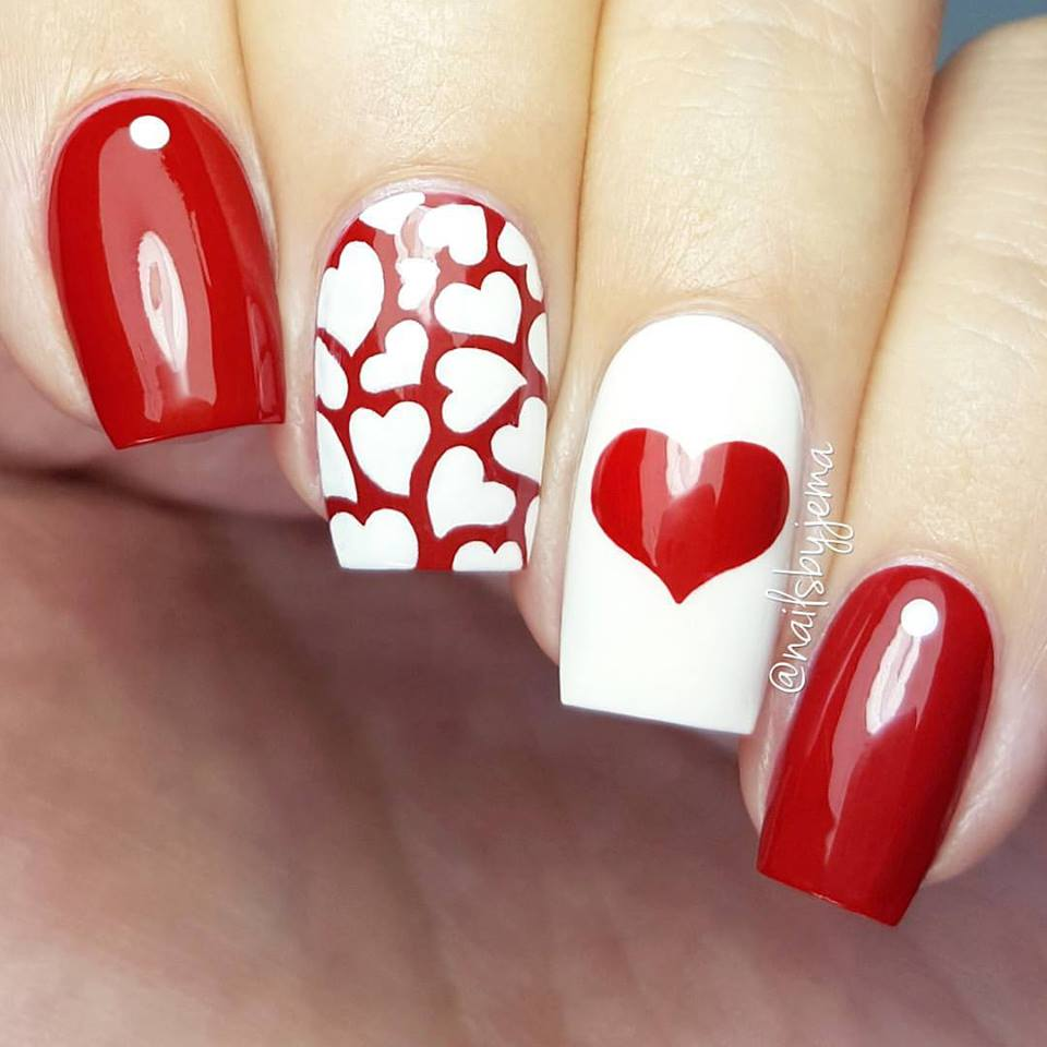 Alluring Red White Heart Nails Design