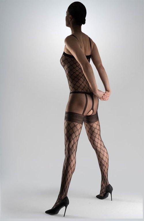 černé erotické silonky na celé tělo catsuit se síťovým vzorem otevřený rozkrok Collanteria Komura