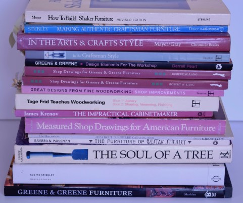 stack of woodworking books