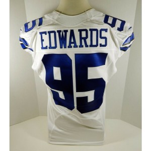 2012 Dallas Cowboys Lavar Edwards _Number_95 Game Issued White Jersey London Poppy