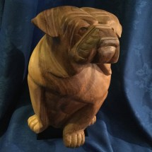 large carved wooden bulldog part of set