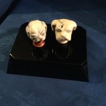 Vintage ceramic bulldog heads