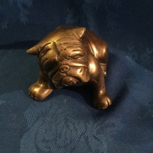 Vintage bronze seated bulldog
