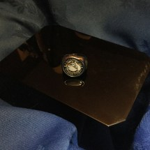 Silver and glass USMC ring