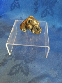 Bronze bulldog head match holder 1