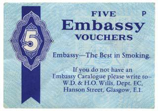 FIVE EMBASSY VOUCHERS / CIGARETTE COUPONS