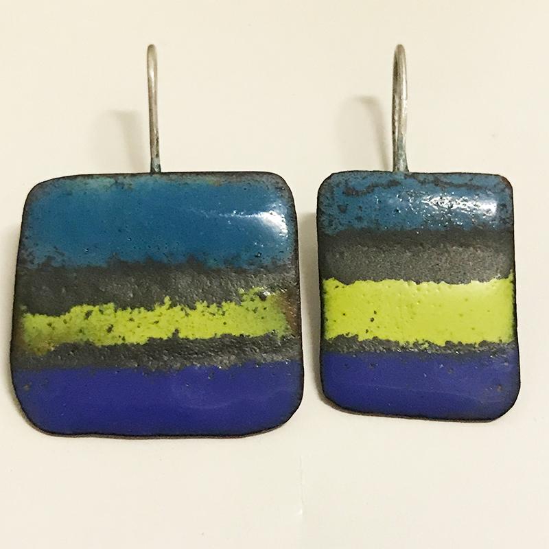 Oorbellen-emaille-blauw-groen