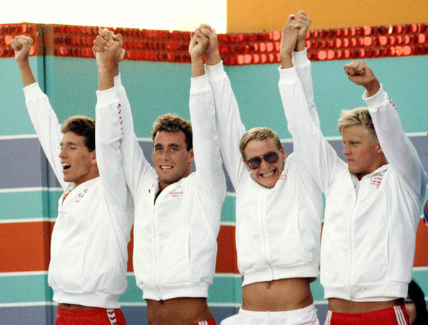 Canada's men's relay team (from left to right) Mike West, Victor Davis, Tom Ponting and Sandy Goss celebrate their silver medal win in the swimming event at the 1984 Olympic games in Los Angeles. (CP PHOTO/ COA/Jim Merrithew)