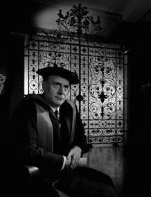 Photograph of Marshall McLuhan wearing academic garb, January 21, 1967, by Yousuf Karsh