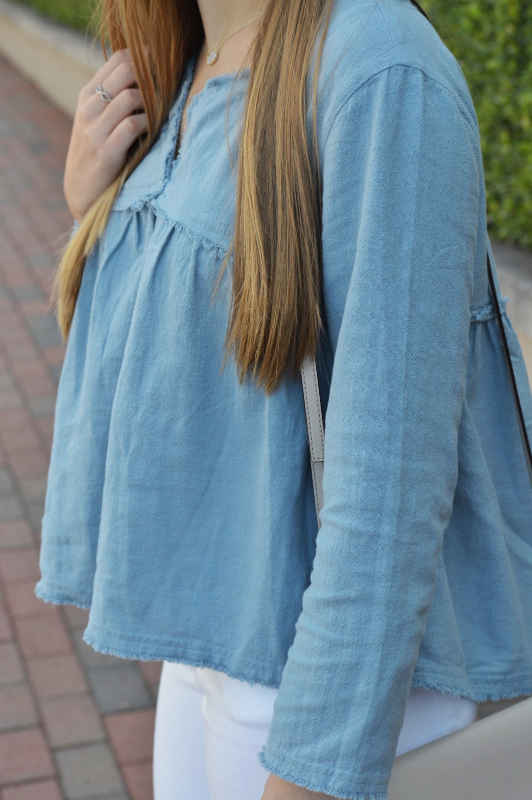 Chambray Babydoll Top