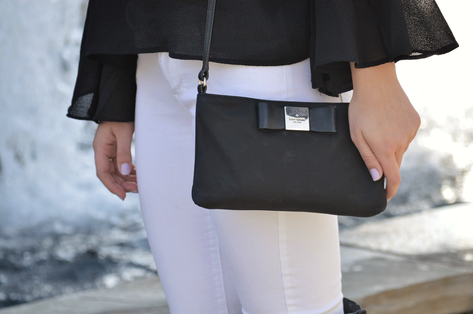 Black Kate Spade Bag with Bell Sleeve Top