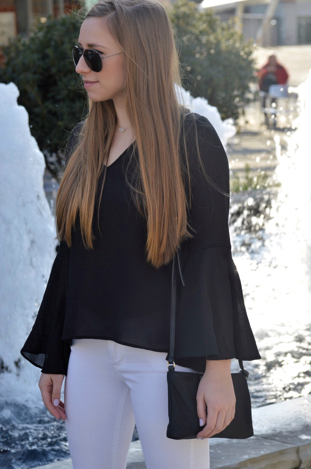 Black Bell Sleeves Top