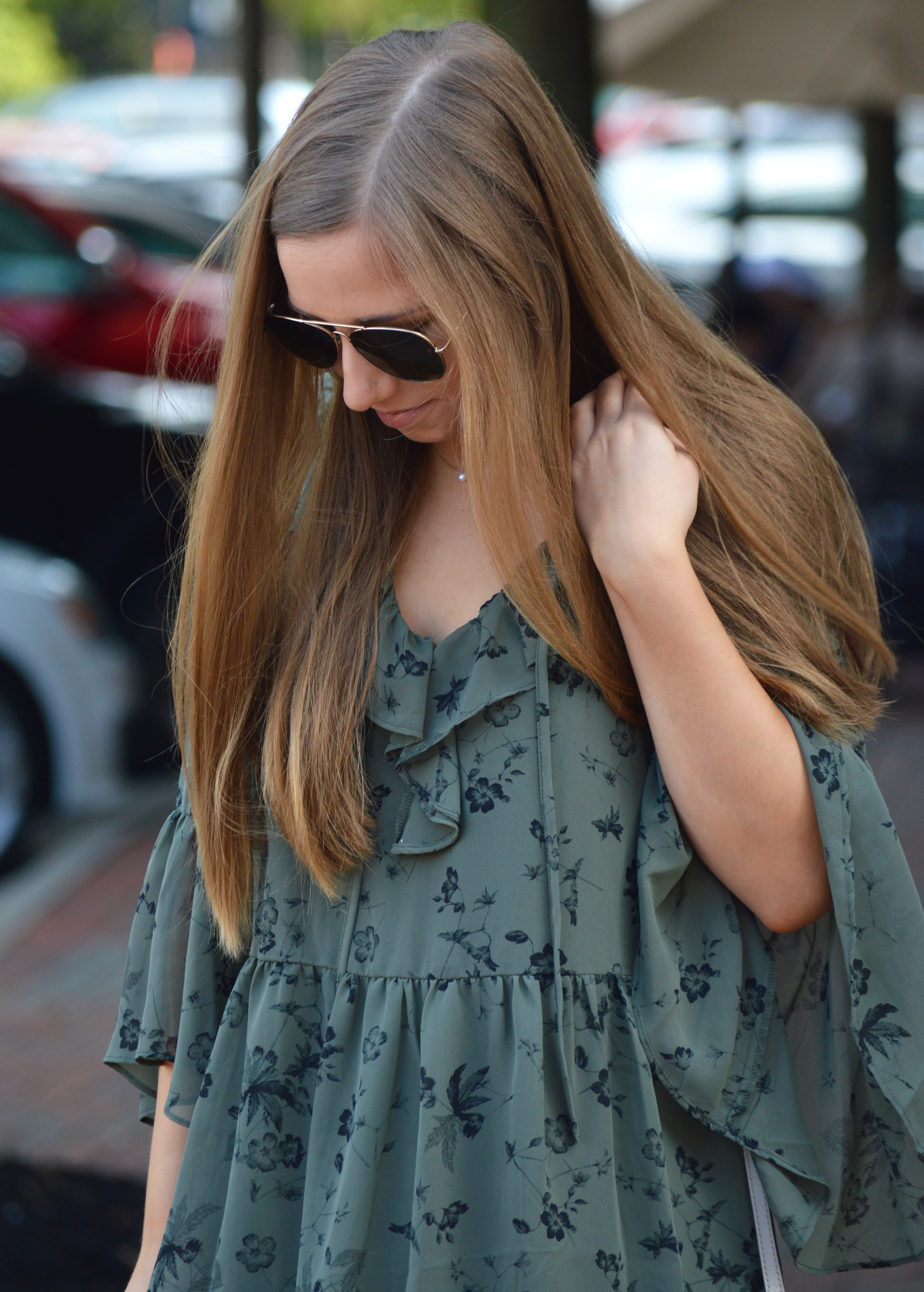 Fall Floral Flounce Dress