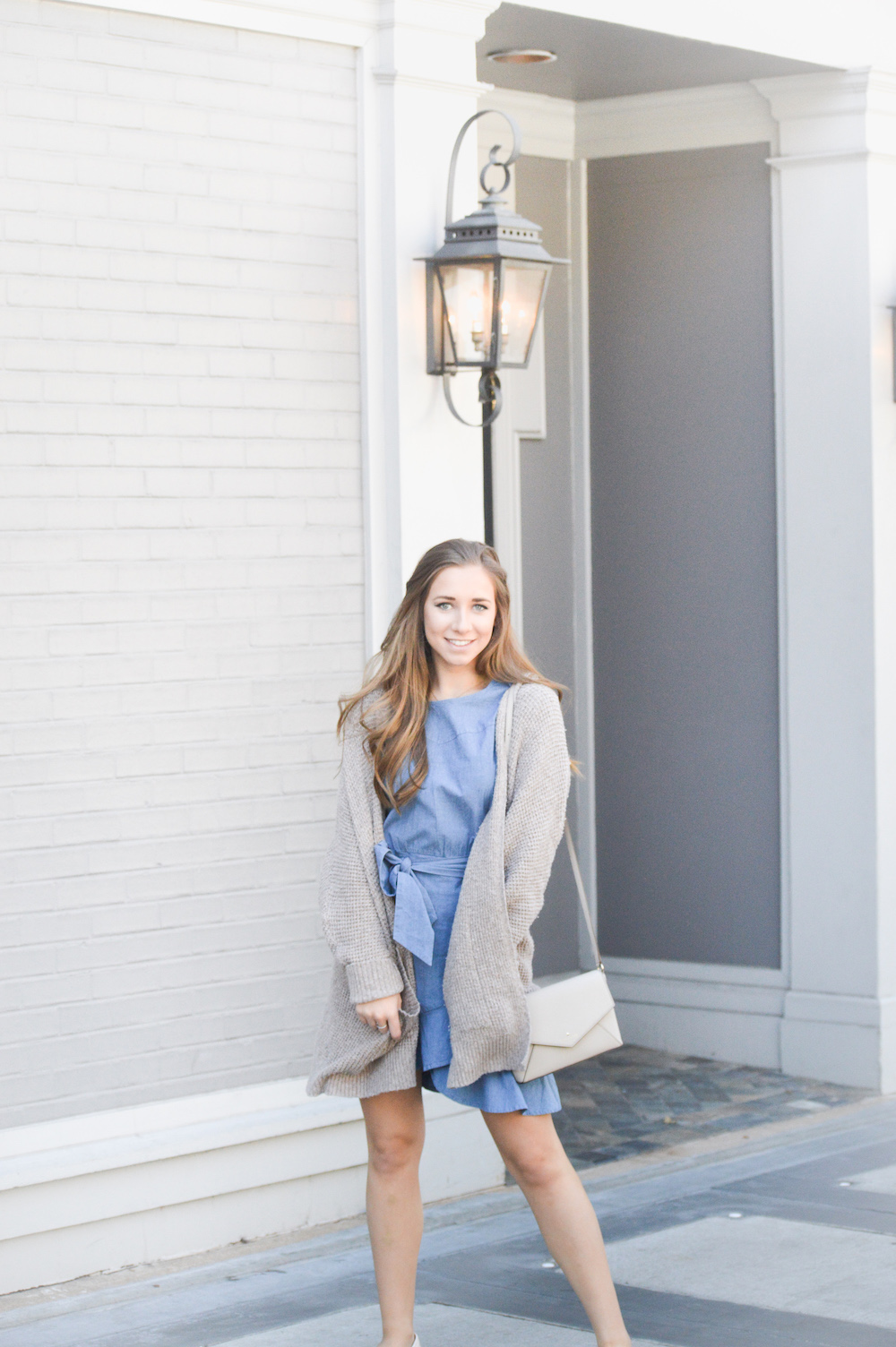 Chambray Ruffled Wrap Dress