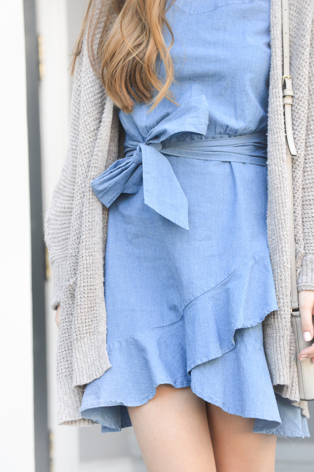Ruffle Wrap Dress with Chunky Cardigan