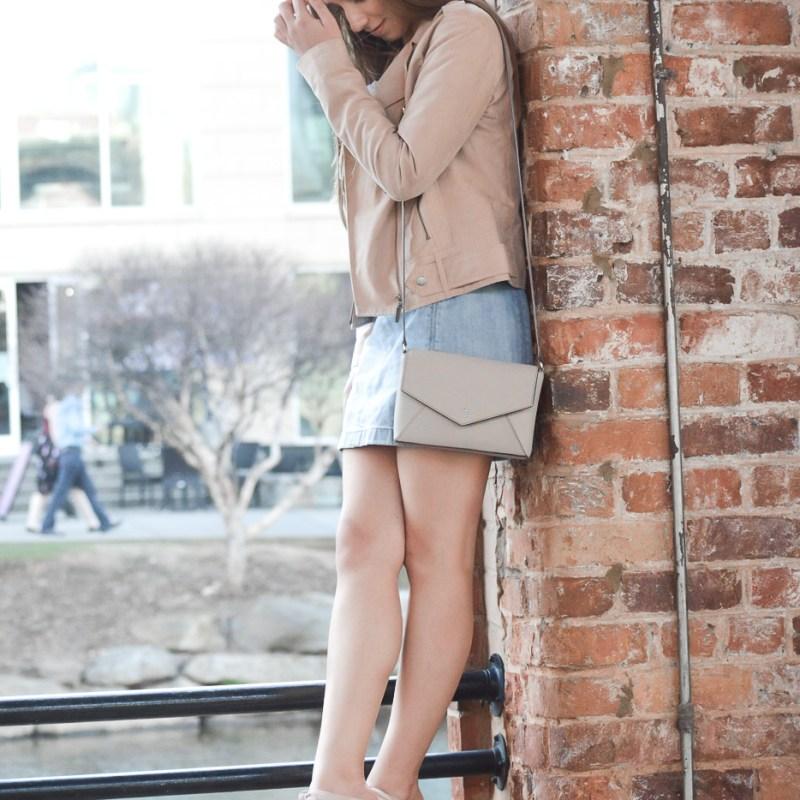 Faux Suede Moto Jacket + Easy Denim Skirt