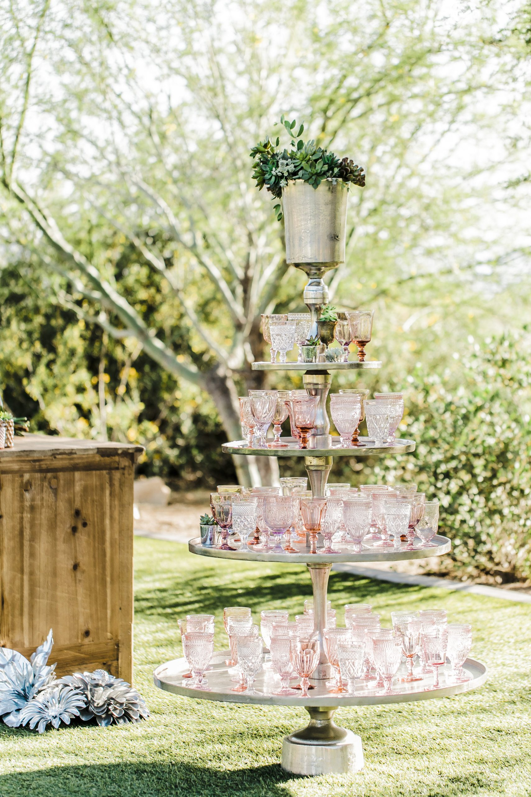 Vintage Champagne Tiered Stand