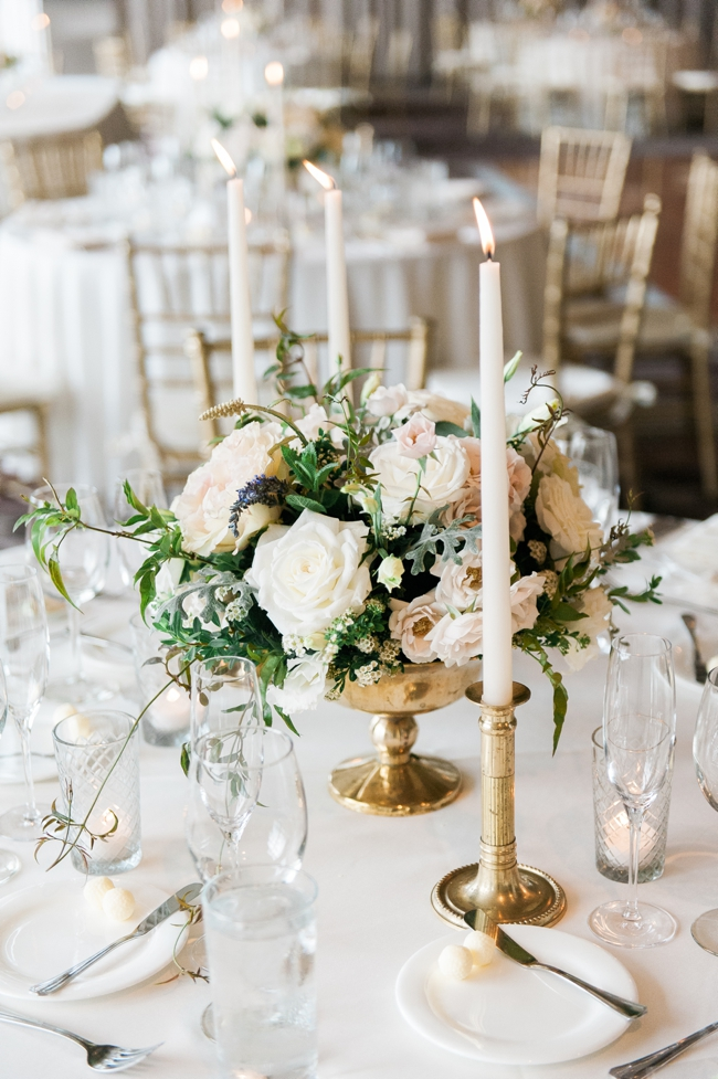 Gold and Vintage Wedding Center Pieces