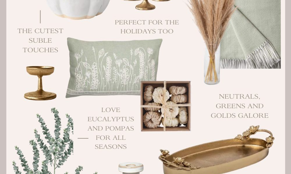 Neutral Fall Decor: Gold, White and Green Home Decor Pieces