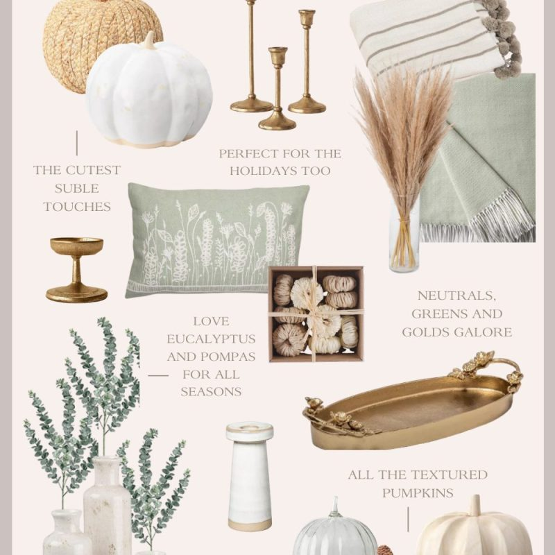 Neutral Fall Decor Pieces: Gold, Green and White Home Decor