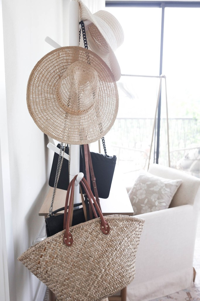 White Amazon Hat and Handbag Rack