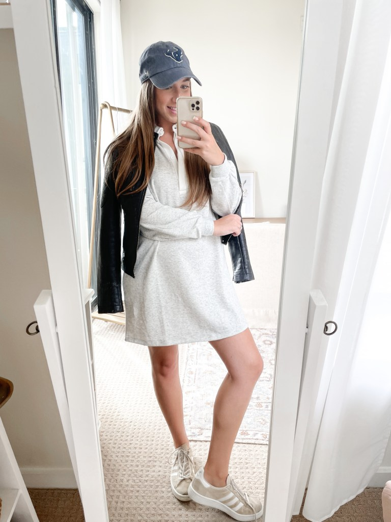 Game Day Outfit Inspiration Rugby Dress with Moto Jacket