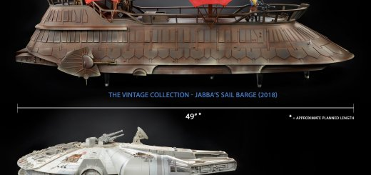 Jabba's Sail Barge and Millennium Falcon comparison picture