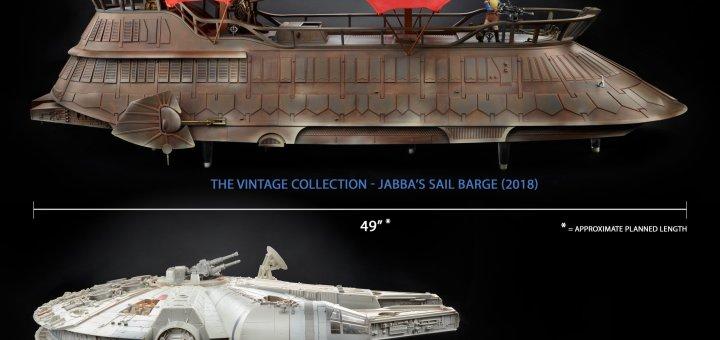 Jabba's Sail Barge and Millennium Falcon comparison picture