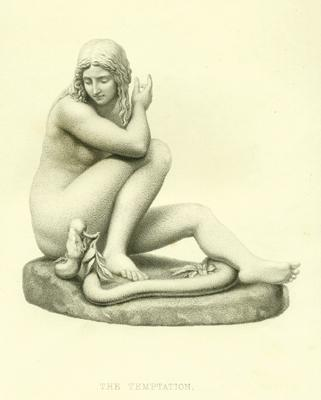 Antique Line Engraving of Temptation, Eve Sitting with Snake