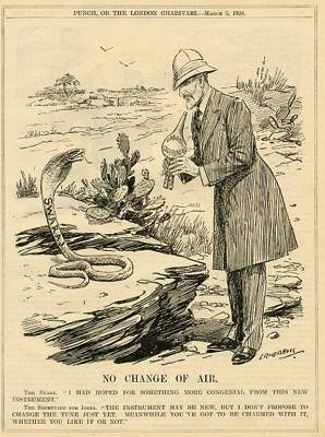 The conversation between Indian Swaraj Snake and the British Snake Charmer - Snake: I had hoped for something more congenial from this new instrument. Secretary for India: The Instrument may be new but I don't propose to change the tune just yet. Meanwhile you've got to be charmed with it, wether you like it or not. Note: British cartoon from Punch magazine, featuring British Labour Government as a Snake Charmer, the snake is called Swaraj which was the India Home Rule movement. (Image source and courtesy - collectorsprints.com.).