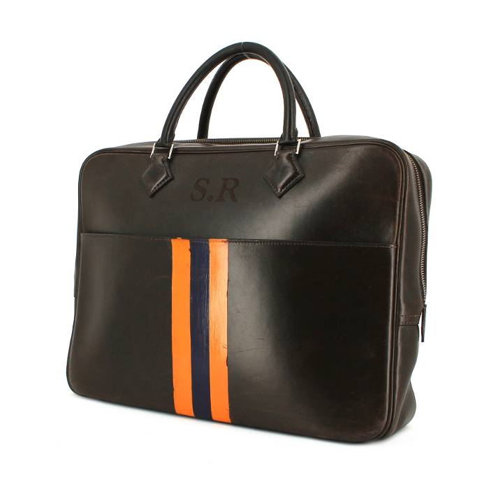 Porte document Herm    s Plume 267627   Collector Square Porte documents Hermes Plume en cuir marron chocolat et orange