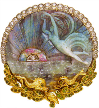 Brooch/pendant, carved opal, demantoid garnet, diamonds, 18k yg, platinum, c. 1890, a circ carved opal depicting a sea nymph, rising/setting sun with circ-cut diamond center, and ocean waves, with grad oe diamond border above and demantoid-set yg foliate wreath border surmounted by two stylized fish below, three hidden pendant loops, sgd