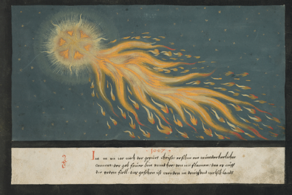 "The ""Book of Miracles"" includes 26 examples of comets, including this one: ""In the year 1007 A.D., a wondrous comet appeared. It gave off fire and flames in all directions. As it fell to Earth it was seen in Germany and Italy."""