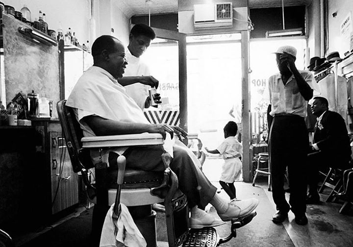 "Louis Armstrong gets a haircut in his local barbershop in Queens, New York, circa 1965. Via ""LIFE"" Magazine."