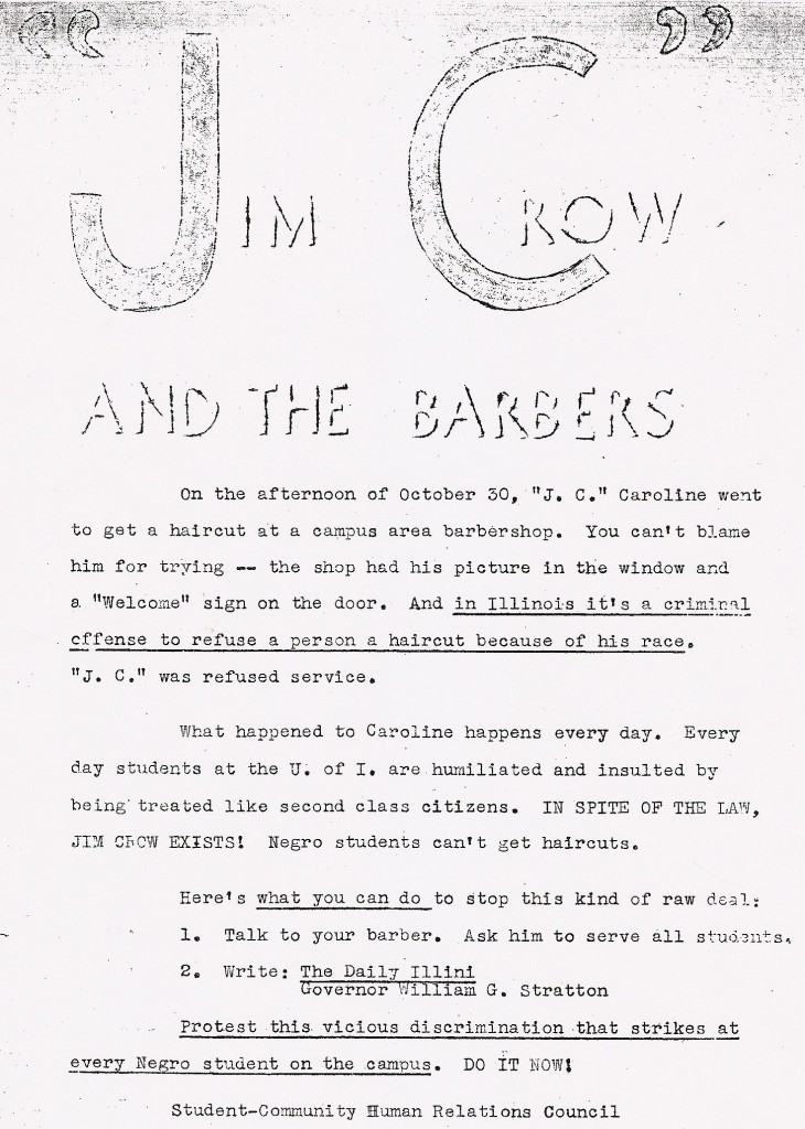 This 1960s flyer from the University of Illinois calls for students to urge barbers to serve all patrons or else boycott them.