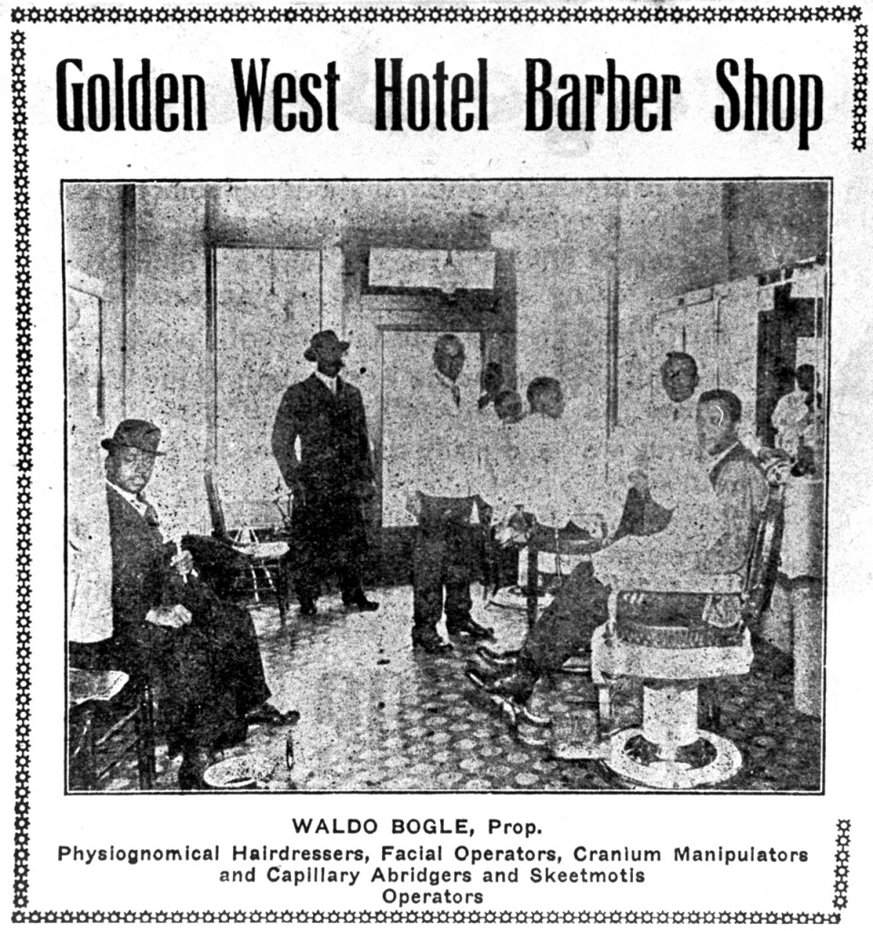 The Golden West Hotel in Portland, Oregon, opened in 1906 to serve the city's booming black population. Waldo Bogle's barbershop was one of the hotel's various businesses.