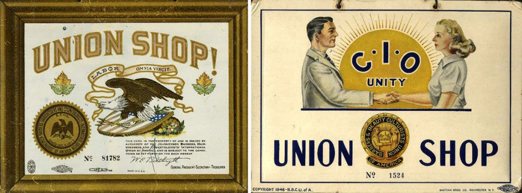Left, a barber's union card from the late 1890s, and right, another from the 1940s. Unions like these pushed for licensing laws that attempted to prevent black barbers from entering the field.