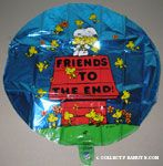 Snoopy hugging Woodstocks on doghouse 'Friends to the End' Mylar Balloon