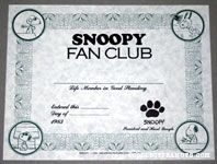 Snoopy Fan Club Membership Certificate 1983