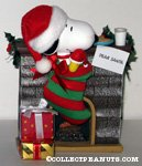 Snoopy & Woodstock in Christmas Stocking by Fireplace Figurine