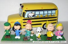 Peanuts Gang School Bus Bank and Figurine Set