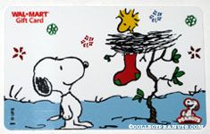 Snoopy with Woodstock in his nest with Christmas stocking Walmart Gift Card