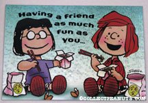 Marcie & Peppermint Patty eating chinese food Greeting Card