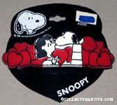 Snoopy kissing Lucy with red hearts Barrette